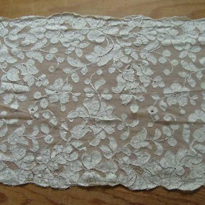 X25 - ANTIQUE FRENCH BLONDE SILK NEEDLERUN SHAWL or STOLE - VERY LONG - EARLY