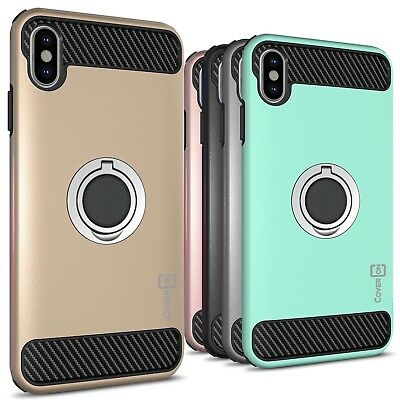 """For Apple iPhone XS Max (6.5"""") Hybrid Armor Protective Ring Cover Phone Case"""