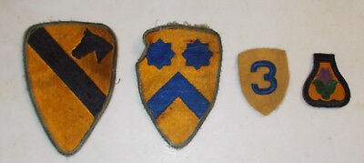 Original WWII US Army Group of 4 Cavalry Division Patches 1st, 2nd,3rd, 21st