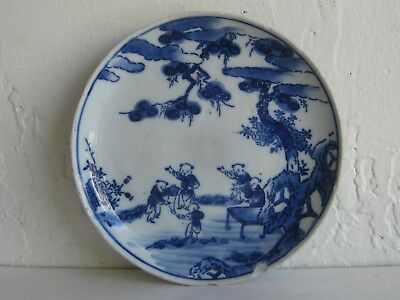 Fine Old Antique Chinese Kangxi Blue & White Hand Painted Porcelain Plate Dish