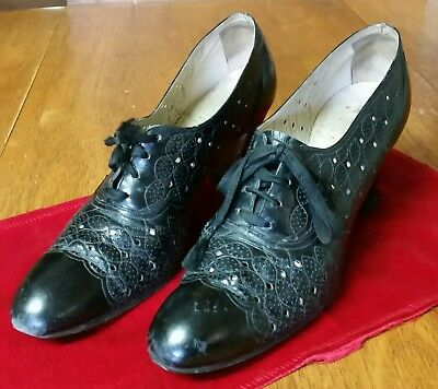 Antique Cabana Walk Over Women's Black Leather Shoes