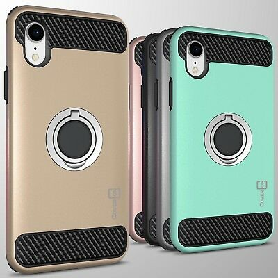 """For Apple iPhone XR (6.1"""") Hybrid Armor Protective Ring Cover Hard Phone Case"""
