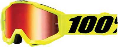100Percent Accuri Junior Youth Goggles, Fluorescent Yellow With Mirror Red Lens