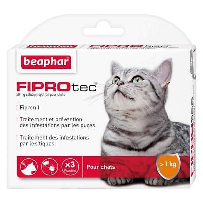 3x 50mg Pipettes Anti Puces Tiques Antiparasitaire Vermifuge Chat Chaton +2kg
