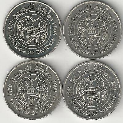4 DIFFERENT 25 FILS COINS from BAHRAIN (2005, 2007, 2009 & 2010)