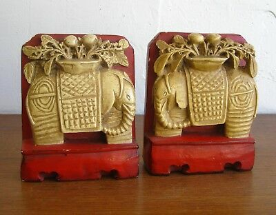 Vintage Art Deco Chalkware Chinese Elephant Red Bookends Book Ends Chalk Ware