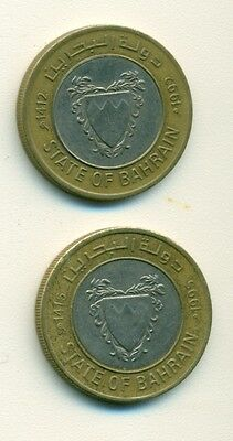 2 BI-METAL 100 FILS COINS from BAHRAIN (1992 & 1995)