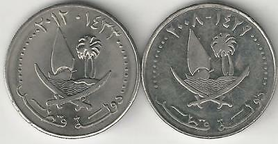 2 DIFFERENT 50 FILS COINS with SHIPS from QATAR DATING 2008 & 2012
