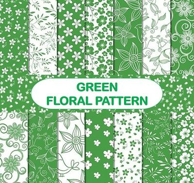 GREEN FLORAL PATTERN SCRAPBOOK PAPER - 14 x A4 pages