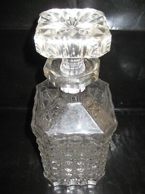 "CLEAR CUT GLASS DECANTER W/ STOPPER  ~ HEAVY ~  Measures 4"" square ~~ 9 ""H"