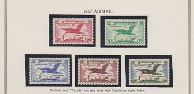 CAMBODIA, 1956. Air Mails Second Issue Set C10-14, Mint