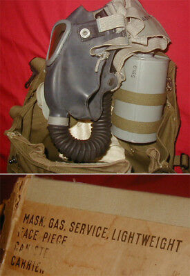 Original WWII U.S. Army Lightweight Service Gas Mask w/ Carrier in Box - Unused