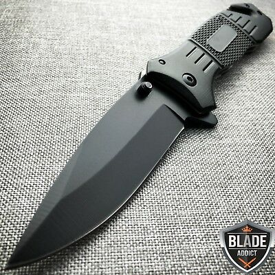 TAC FORCE Spring Assisted Opening BLACK Tactical Rescue Folding Pocket Knife -T