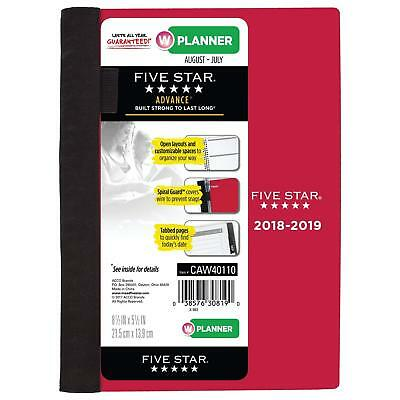 "FIVE STAR* 8.5"" x 5.5"" AUG-JUL 2018-2019 Tabbed Pages PLANNER Spiral Guard RED"