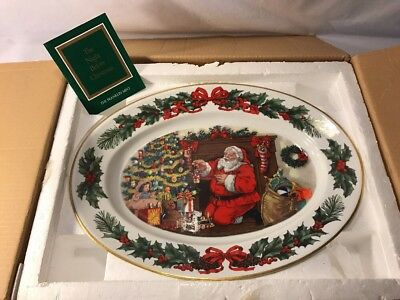 "Franklin Mint ""the Night Before Christmas"" Hand Painted Large Platter Nib 1990"