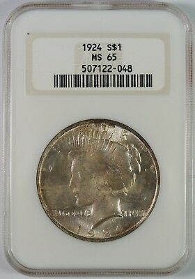 1924 $1 Peace Silver Dollar NGC MS65  **Old Fat-Boy Holder**