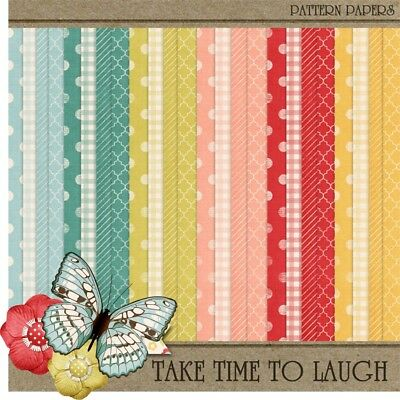 TAKE TIME TO LAUGH - BASIC PATTERNS SCRAPBOOK PAPER - 24 x A4 pages