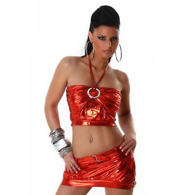Sexy 2-Tlg Gogo-Set Top+Rock Clubwear Metallic-Look Rot 34/36/38 #gw294