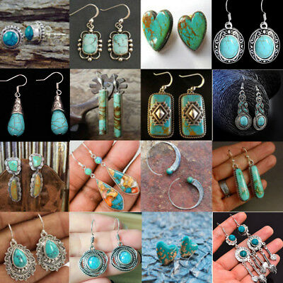 Vintage Boho 925 Silver Antique Turquoise Gemstone Drop Dangle Hooks Earrings