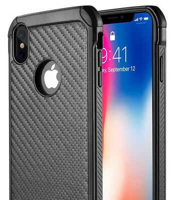 "iPhone XS Max 6.5"" - Black Carbon Fiber Hybrid Rugged Hard Armor Shockproof Case"