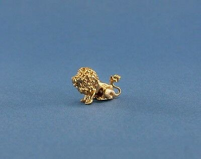NICE 1:12 Scale Dollhouse Miniature Golden Lion Figurine/Statue #JLM127