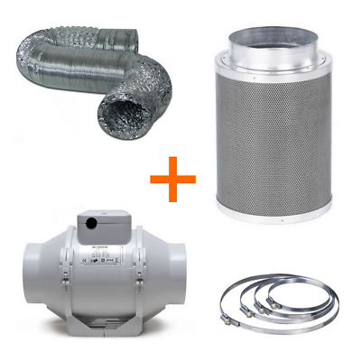Air extraction TT Kit Extractor / Filter / Flexible Tube 187 m³/h (100mm)
