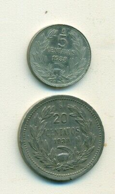 2 OLDER COINS from CHILE - 20 CENTAVOS & 1 PESO (BOTH DATING 1943)