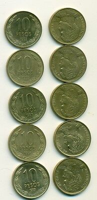 5 DIFFERENT 10 PESO COINS from CHILE (1995, 1996, 1997, 1998 & 1999)