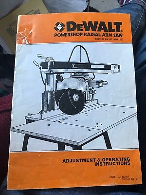 Dewalt Powershop Radial Arm Saw Adjustment & Operating Instructions Book