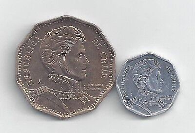 2 DIFFERENT COINS from CHILE - 1 & 50 PESOS (BOTH DATING 2013)