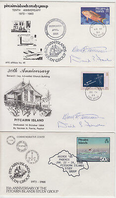 1984-90 lot 5 x Pitcairn Islands covers inc signed + via longboat & Cornucopia