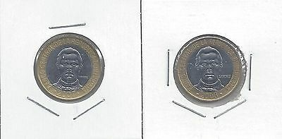 From Show Inv. - 2 BI-METAL 5 PESO COINS..the DOMINICAN REPUBLIC..2007 & 2008