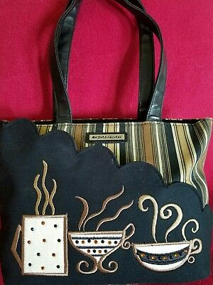 Euc Longaberger Homestead Tote Purse Hand Shoulder Bag Coffee Cups Rhinestones