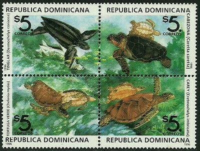 Dominican Rep #1242 Mint Never Hinged Block - Turtles
