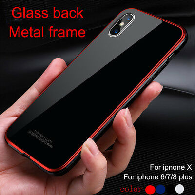 Thin Tempered Glass Hard Back Metal Bumper Phone Case For iPhone X/6/7/8 Plus