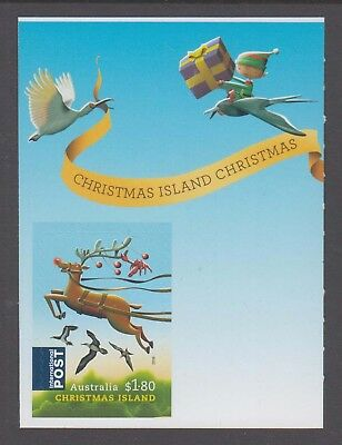 Christmas Island 2016 Christmas s a Reindeer Int Post stamp with label.