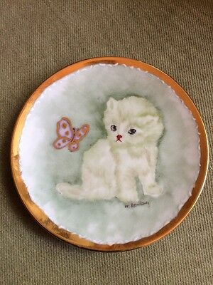 Sm Vintage Plate Hand Painted Signed Kitten Butterfly Gold Accents Trim