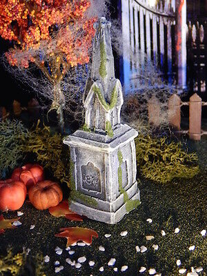 .Halloween TOMBSTONE ~ Steeple Style Statue~GRAVE cemetery Headstone for Dept 56