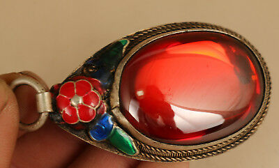 Rare Big fashion Old Cloisonne Silver Inlay Zircon Hand-Carved Statue Pendant