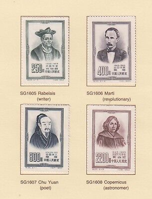 China 1953 Famous Men  Hinged set 4 MNG stamps on piece.