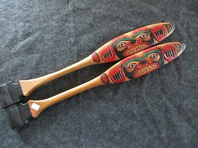 """Northwest Coast Ceremonial """"bear"""" Paddle, Hand Carved & Painted Oar Wy-02476"""
