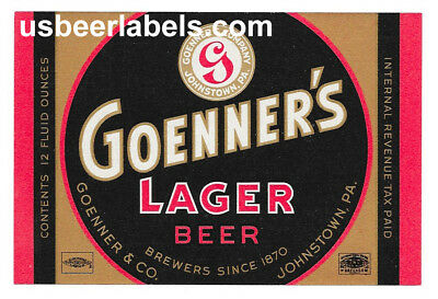 1940's IRTP beer label - GOENNERS LAGER - Johnstown, PA