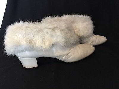 White Antique/Victorian Fur Boots (Unknown Brand & Size) Great For Displaying!!!