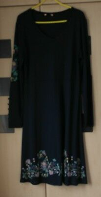 Joe Browns Navy Blue Long Sleeved Dress Size 16. Floral Trim. Button Sleeves New