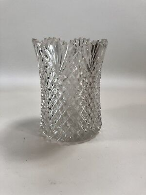 Vintage Crystal Diamond Cut Glass Vase Or Votive Candle Holder 4.5 Inches