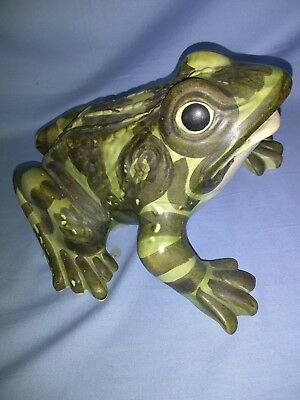 "RARE Large 11"" Brush McCoy Art Pottery Sitting Frog Garden Porch Figurine NICE"