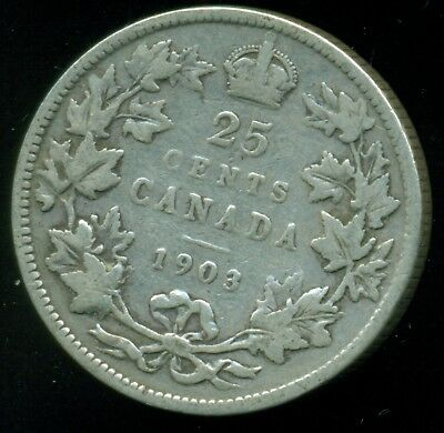 1903 Canada 25 Cent Piece, King Edward VII, Original Sterling  O24