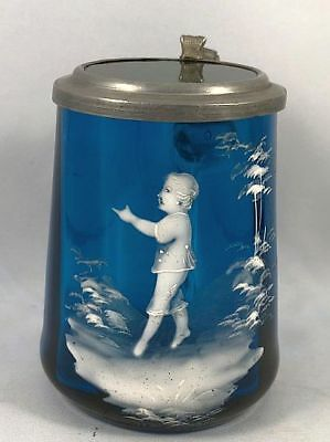 Antique Mary Gregory Peacock Blue & Green Glass Beer Stein Tankard HP Boy