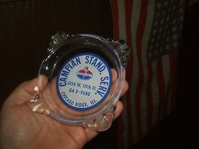 OLD 1950s STANDARD GAS/OIL LOGO STATION CHICAGO RIDGE ILL GLASS ADV ASHTRAY