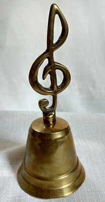 "Vintage Brass Bell 5""x2"" Music Note Treble Clef Staff Teacher School Figural"